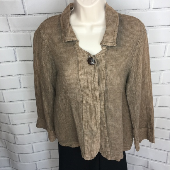 Habitat Jackets Coats Womens Brown Linen Jacket Blazer Xs Poshmark
